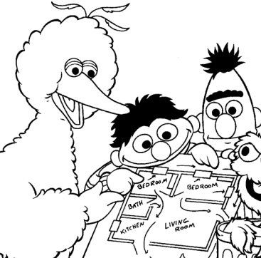 367x362 Free Sesame Street Fire Safety Coloring Pages Activity Booklet