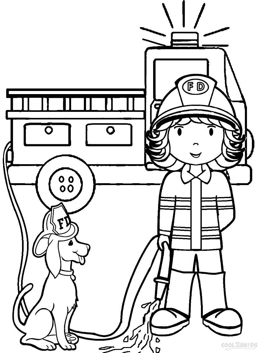 850x1133 Free Printable Fireman Coloring Pages Black