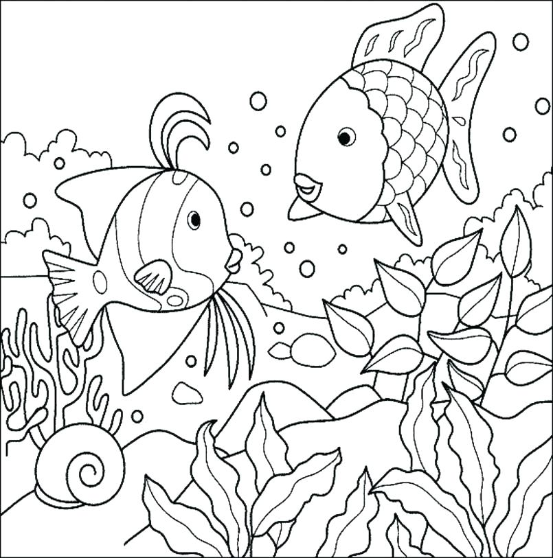 805x813 Fish Coloring Pages Printable Printable Fish Coloring Pages Large