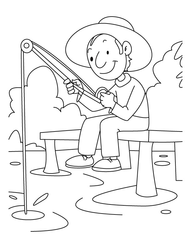 612x792 Fishing Pictures To Color A Boy Is Fishing Coloring Pages Download