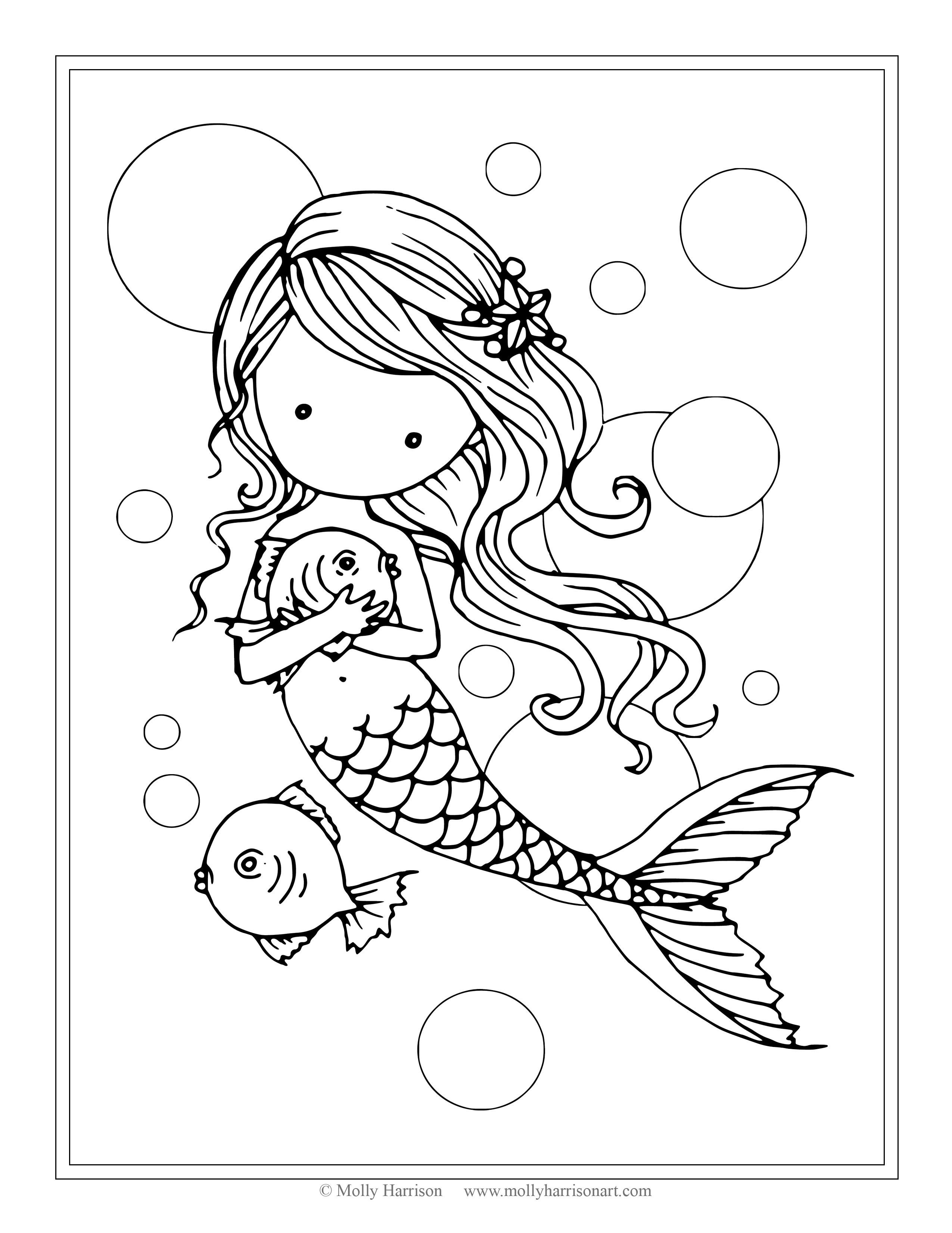 2550x3300 Free Mermaid With Fish Coloring Page
