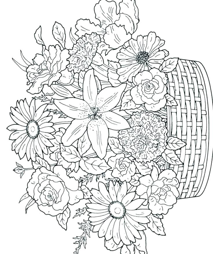 736x875 Coloring Pages Flowers Free Printable Coloring Pages Of Flowers