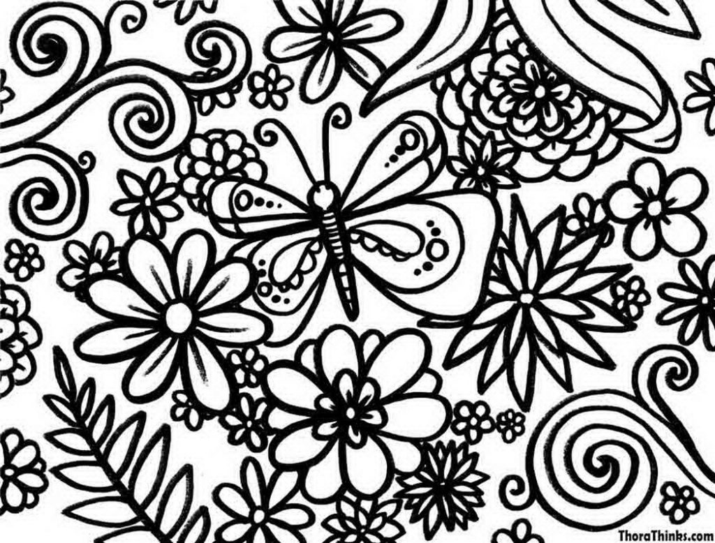 1024x778 Lofty Idea Flowers Coloring Pages Butterfly Among Page Free