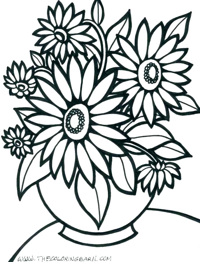 688x903 Printable Flowers To Color Large Flower Coloring Pages Flower