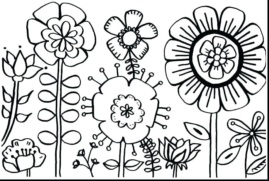 878x591 Coloring Pages With Flowers