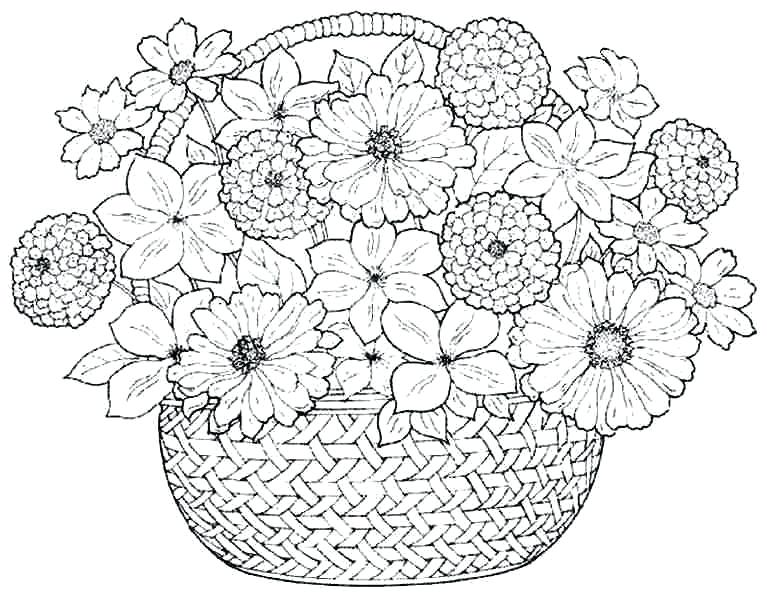 767x600 Coloring Pages With Flowers Coloring Pages Bouquet Flowers Free