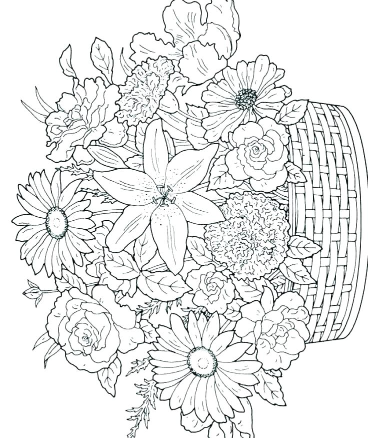 736x875 Flower Coloring Pages To Print Flower Coloring Pages Flower