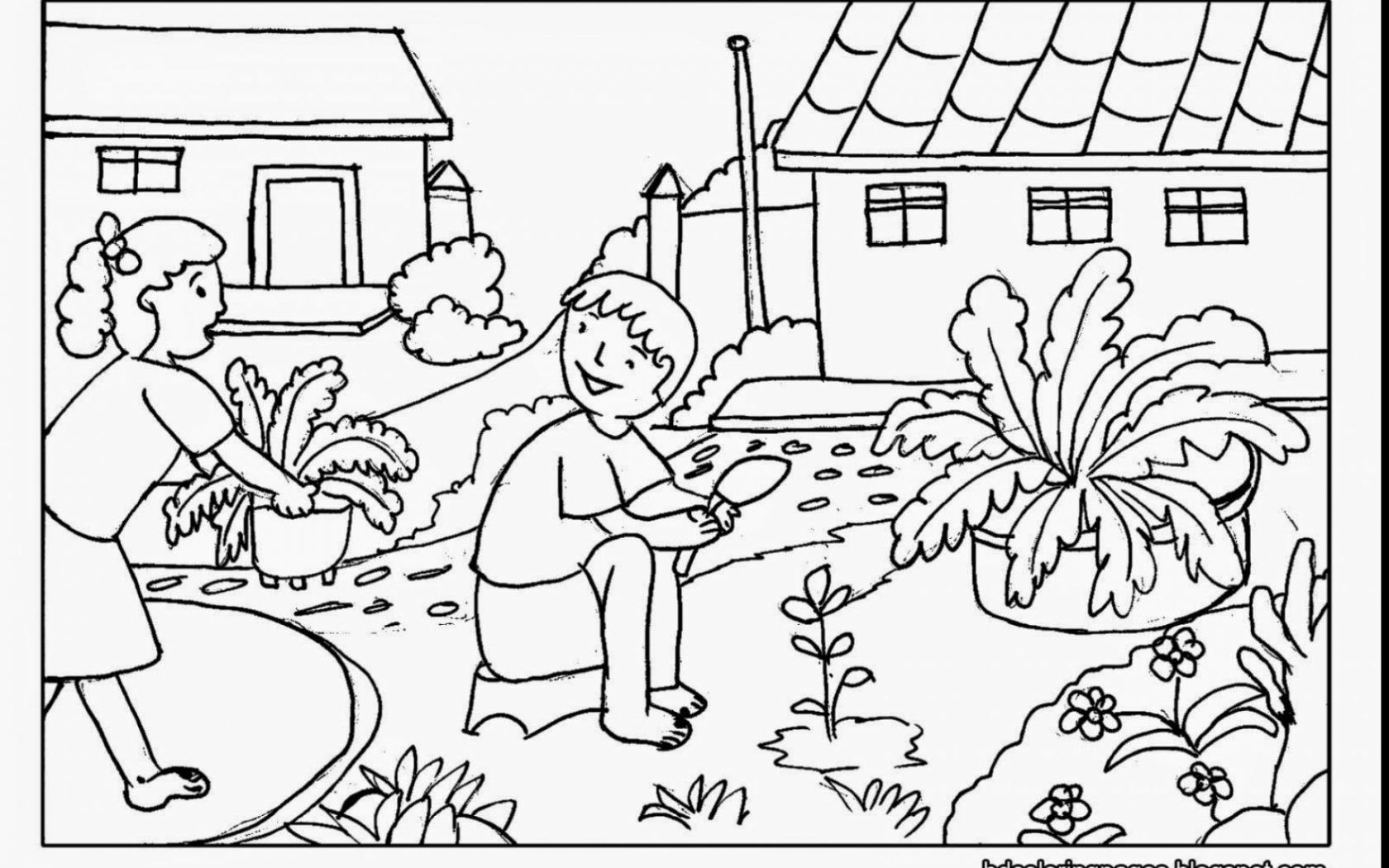 1680x1050 Amazing Best Garden Coloring Page For Kids Printable Pic Of Flower