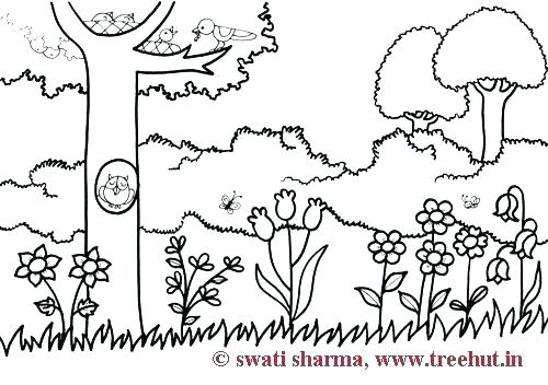 500x352 Garden Coloring Pages Garden Coloring Sheets Flower Garden