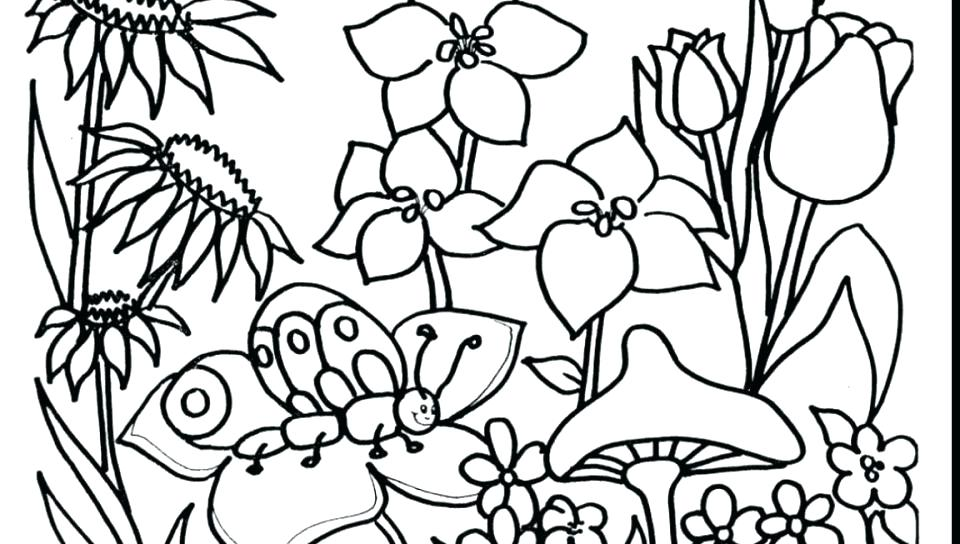 960x544 Spring Garden Colouring Pages Coloring Children In The Page