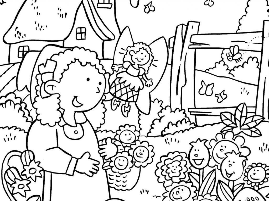 1024x768 Stunning Garden Coloring Pages Kids Gardening Free Colouring