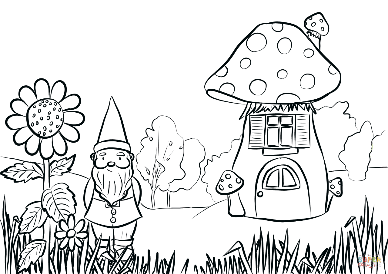 1280x905 Gnome In The Garden Coloring Page Free Printable Coloring Pages