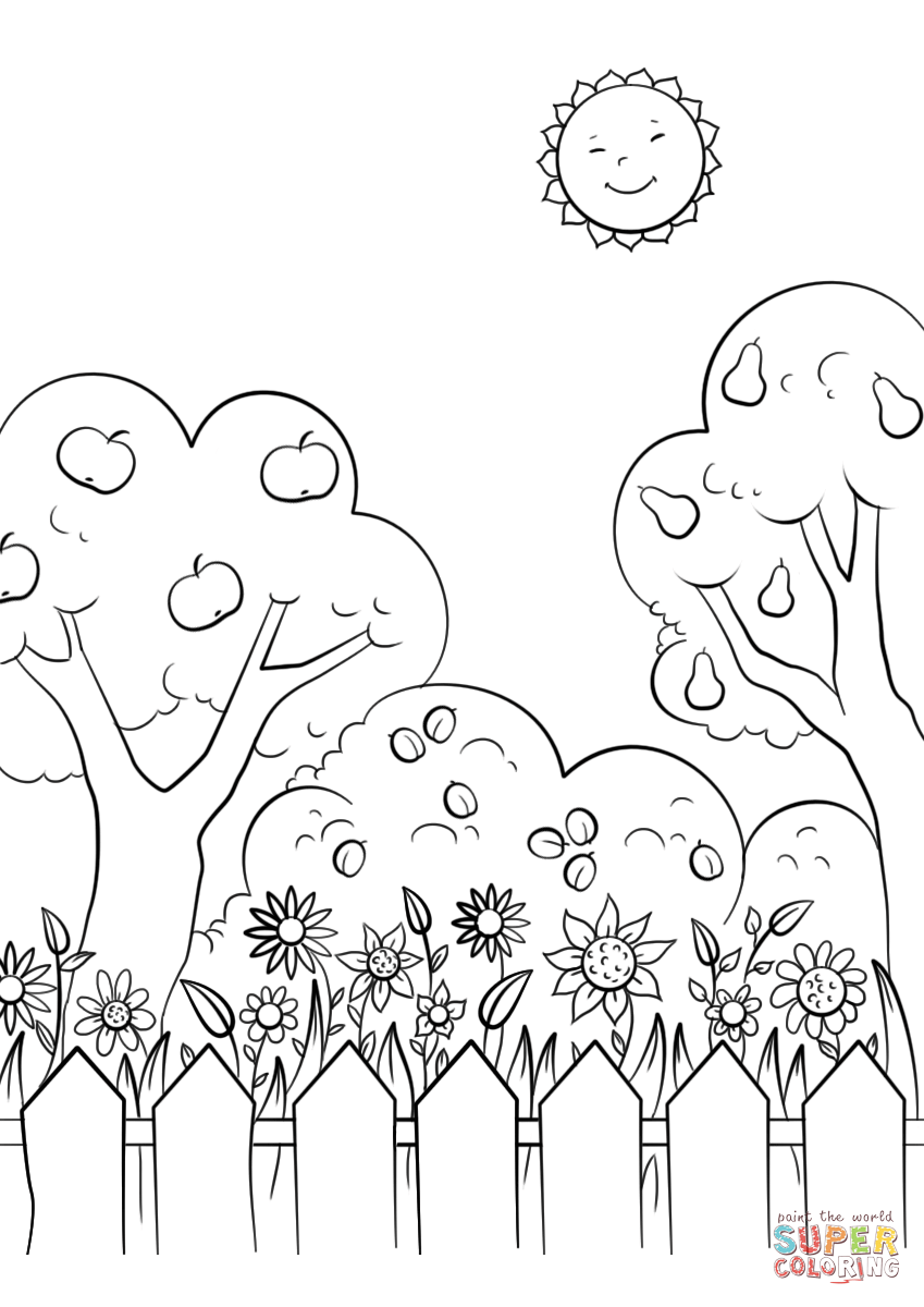 849x1200 Beautiful Garden Coloring Page Free Printable Pages Unusual