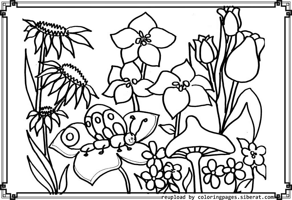 1024x700 Flower Garden Coloring Pages To Download And Print For Free