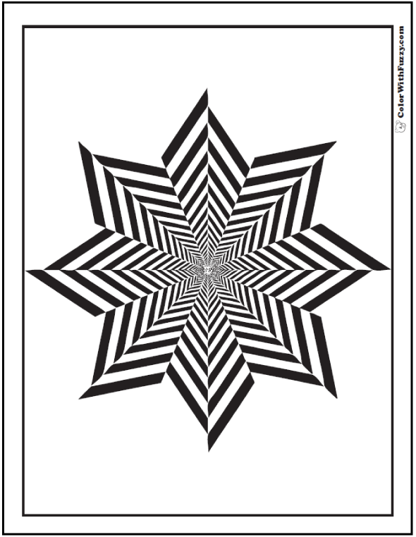 590x762 Free Geometric Coloring Sheet Striped Eight Point Star