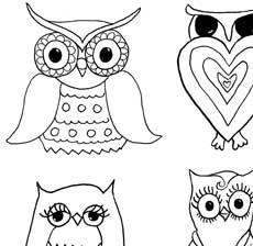 230x224 Free Owls And Mushrooms Coloring Page!