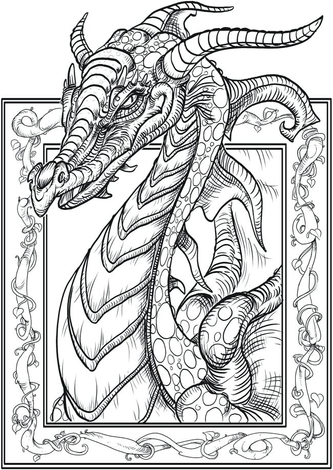 650x919 Awesome Dragon Coloring Page Adult Coloring Book Celtic Dragon