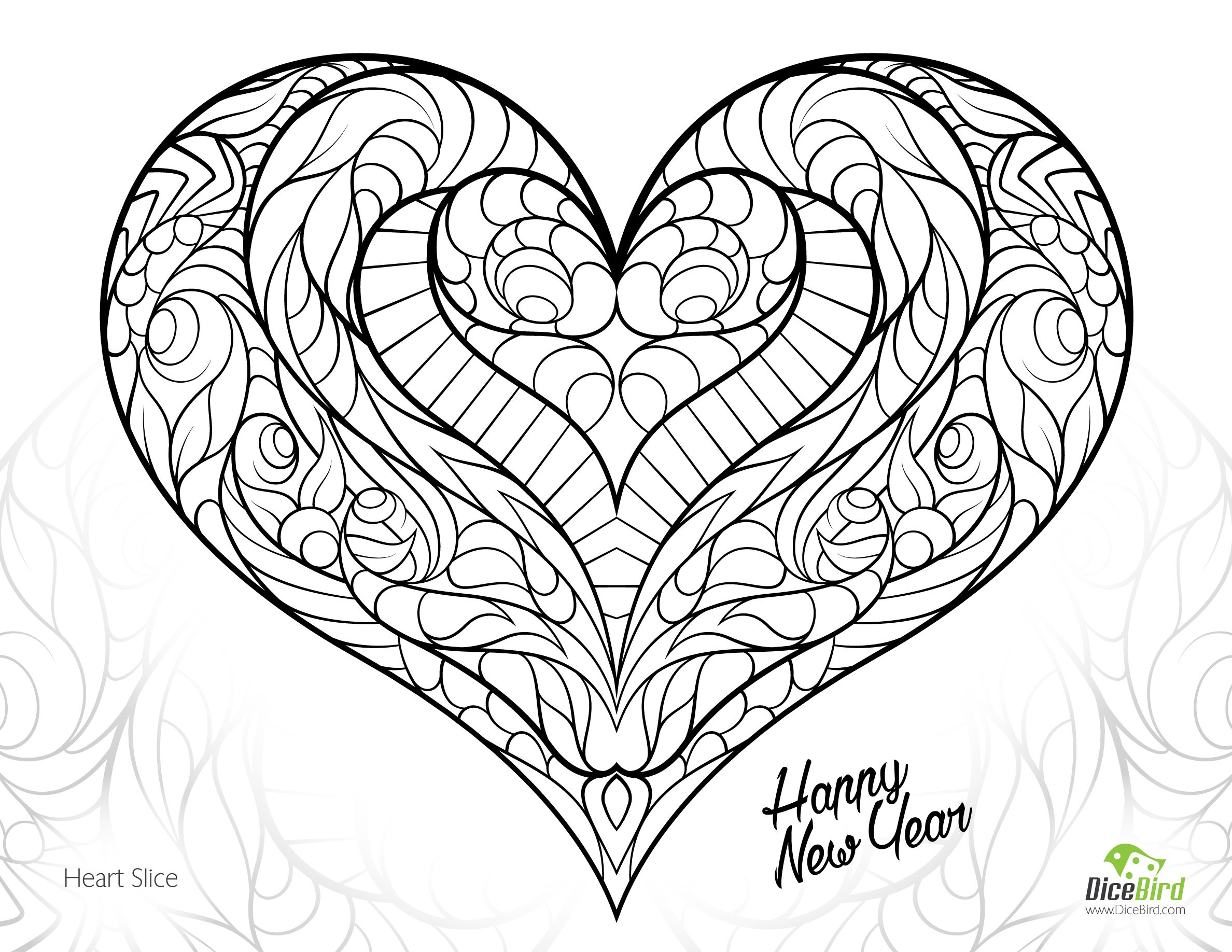 2376x1836 Mandala Coloring Pages Hearts Copy Heart Slice Free Adult Coloring