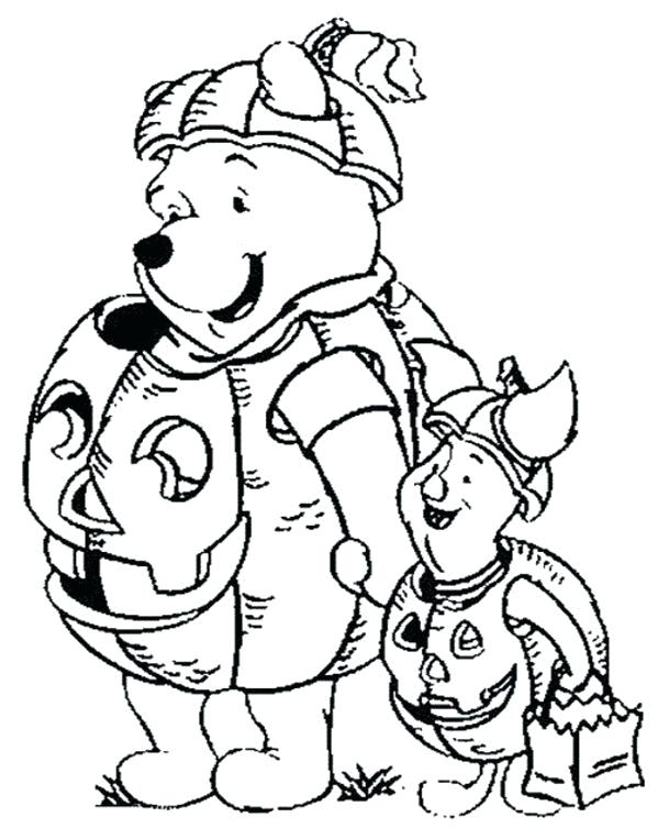 600x763 Disney Halloween Coloring Pages Free Pooh Friends Coloring Pages