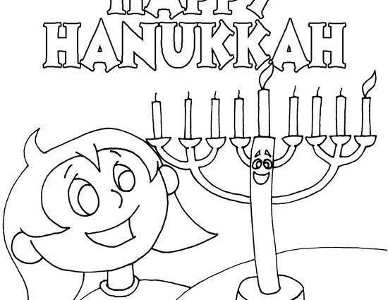 550x425 Hanukkah Coloring Pages Free Printable For Intended Decorations