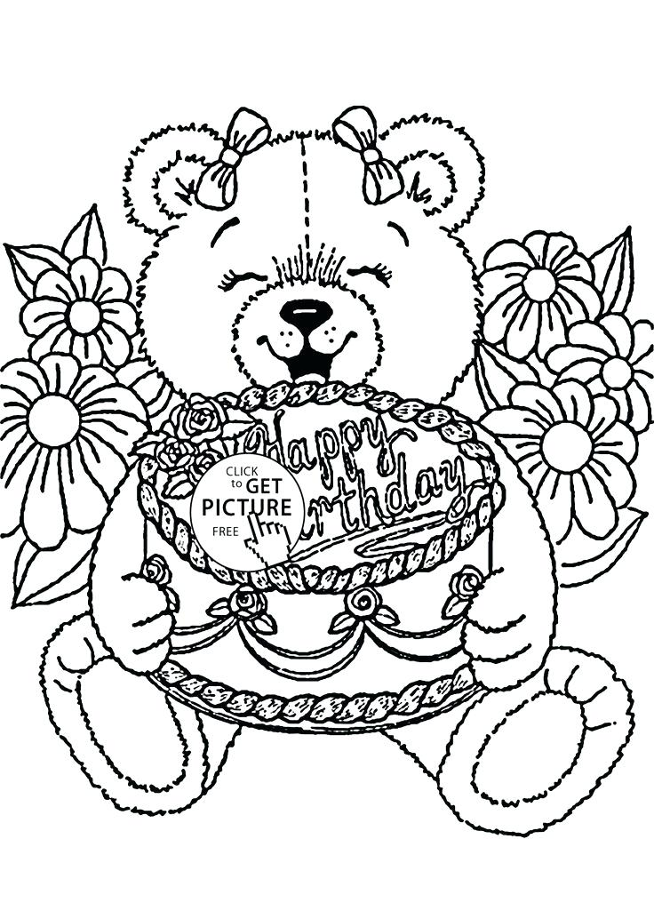 736x1034 Happy Birthday Coloring Pages For Kids Teddy Bear Happy Birthday