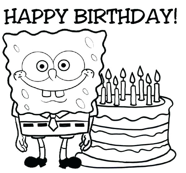 600x556 Happy Birthday Coloring Pictures Happy Birthday Coloring Pages