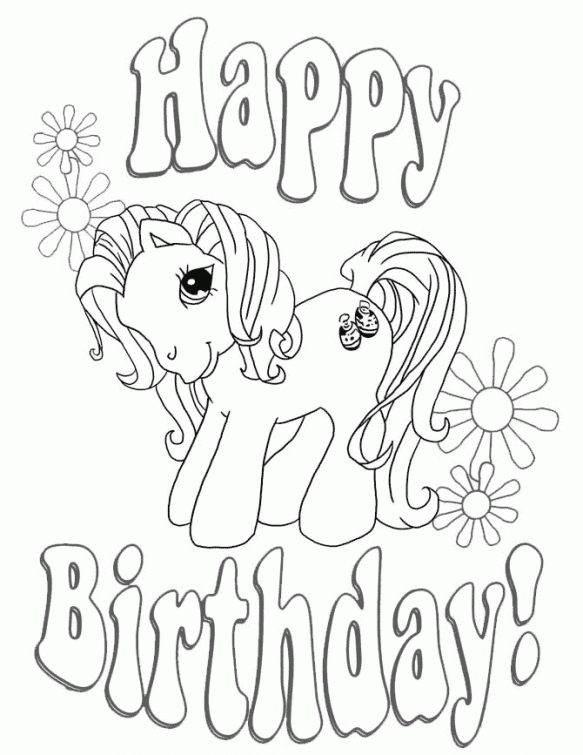 583x755 My Little Pony Happy Birthday Coloring Page