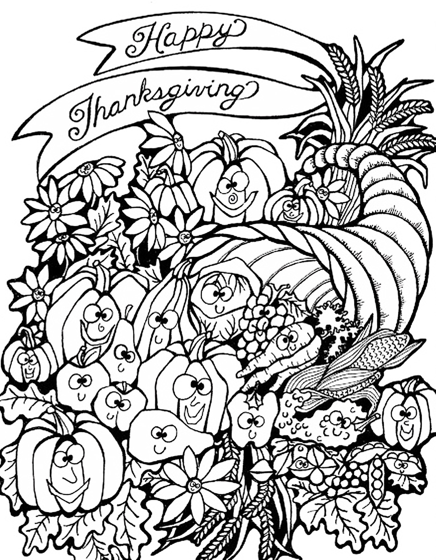 1700x2180 Free Printable Cornucopia Coloring Pages
