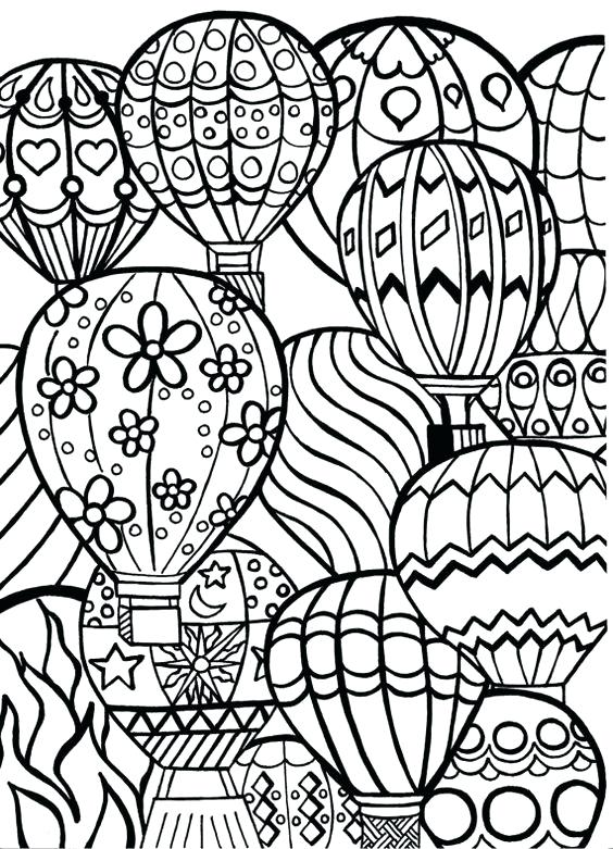 564x781 Hot Air Balloon Coloring Page Birthday Cake And Balloons Coloring