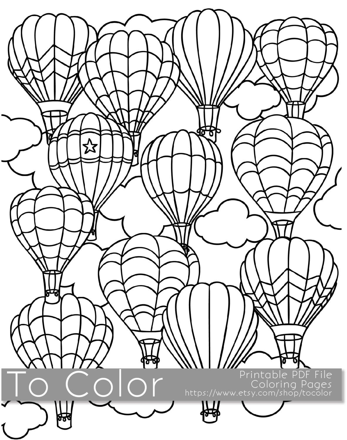 1182x1500 Printable Hot Air Balloon Coloring Page For Adults, Pdf