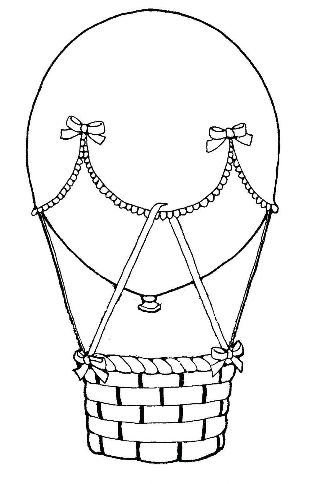 1024x1581 Coloring Pages Hot Air Balloon Coloring Page Pages Preschool Hot