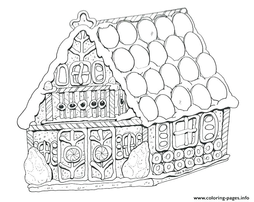 825x657 Gingerbread House Coloring Page
