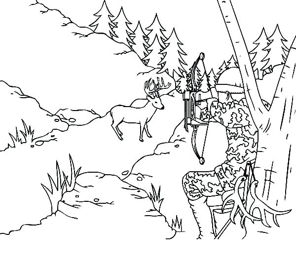 600x535 Coon Hunting Coloring Pages Deer With Camouflage Sky Best Free