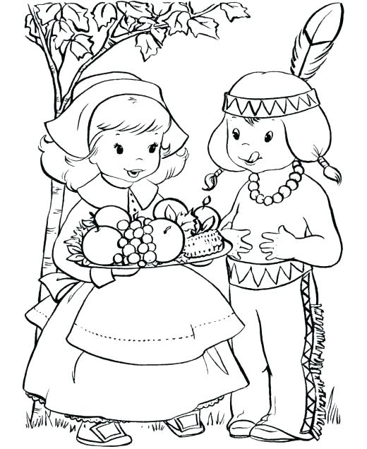 520x636 Free Thanksgiving Indian Coloring Pages Best Of Pilgrim