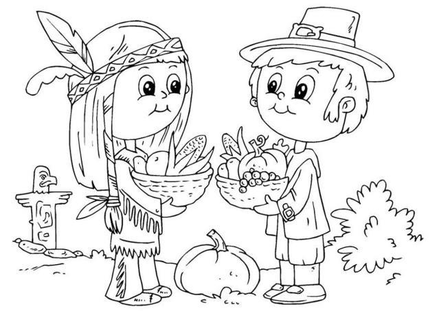 639x453 Pilgrim Indian Coloring Pages Free Printable Pilgrim And Indian