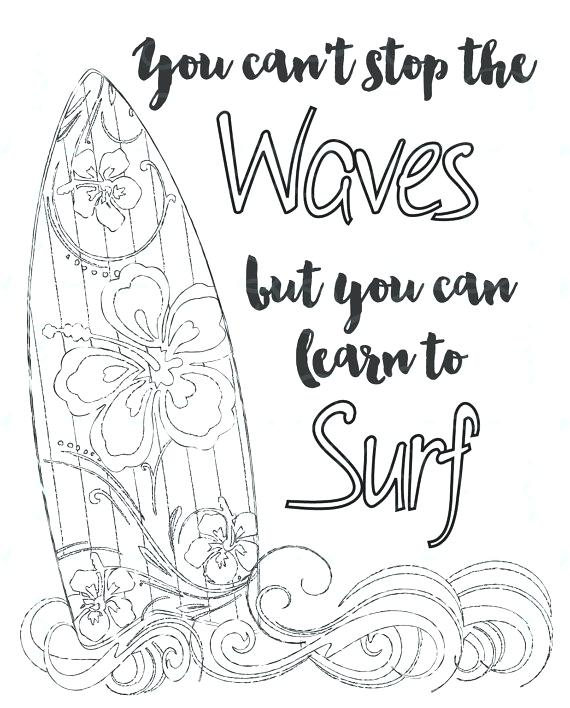 570x708 Adult Inspirational Coloring Page Printable Learn To Surf