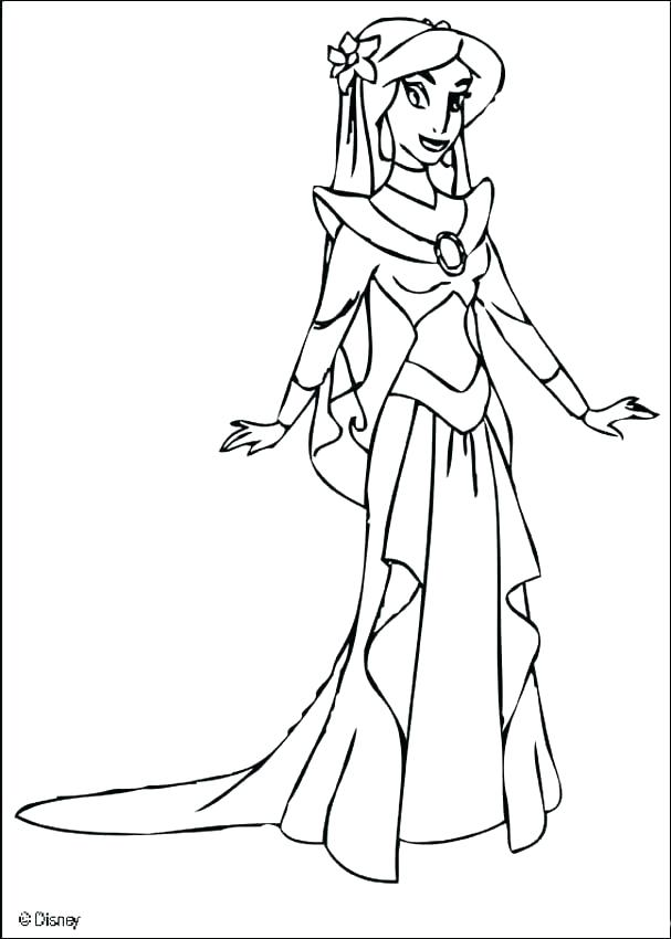 607x850 Princess Jasmine Coloring As Well As Princess Jasmine Coloring