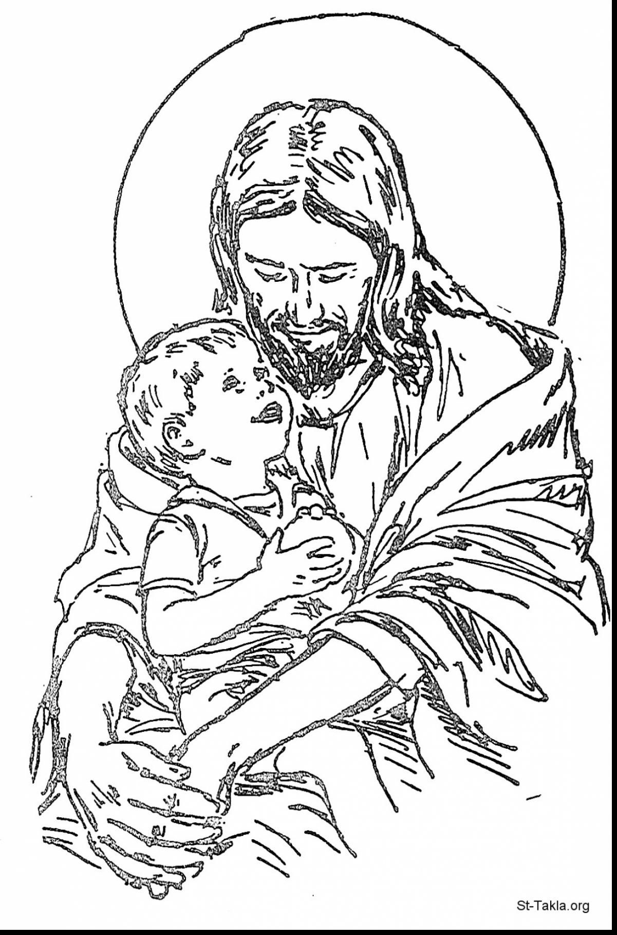 1201x1818 Excellent Jesus With Child Coloring Page With Jesus Coloring Page