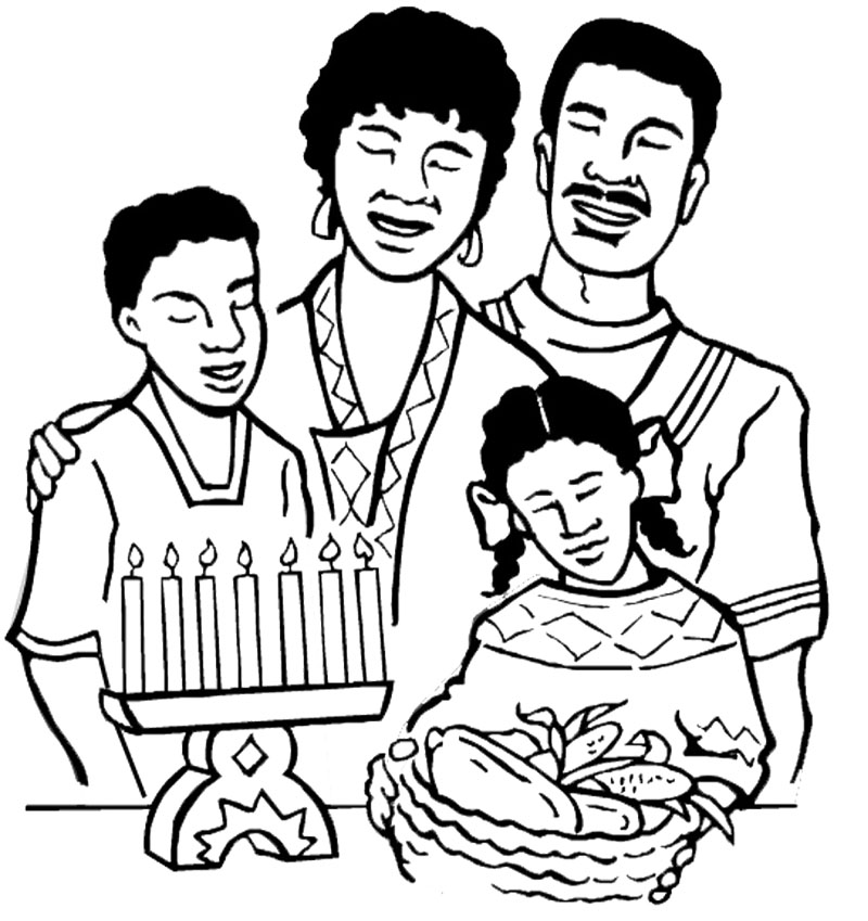 800x849 The Big Family Happy Kwanzaa Coloring Page Kwanzaa