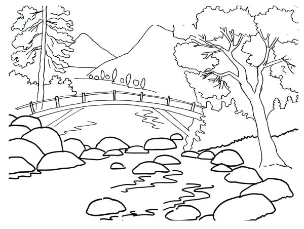 600x452 Landscape Coloring Pages Delectable River Landscape Coloring Page