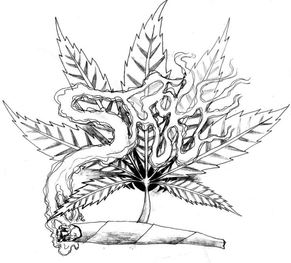 1024x925 Unparalleled Weed Leaf Coloring Pages Drawing Step