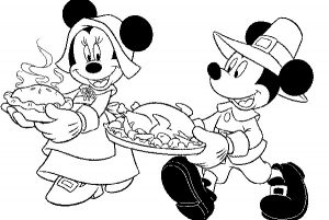 300x201 Thanksgiving Coloring Pages Free Mickey And Minnie Thanksgiving