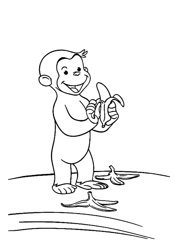 595x842 Monkey Baby Littering The Way And Banana Fruit Peel Coloring Page