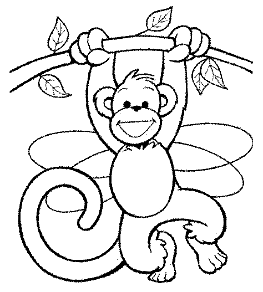1000x1111 Free Monkey Coloring Pages