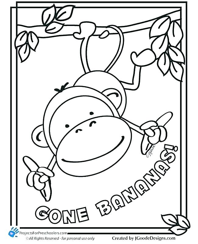 650x800 Monkey Coloring Page