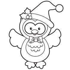 236x236 Holiday Owl Coloring Page