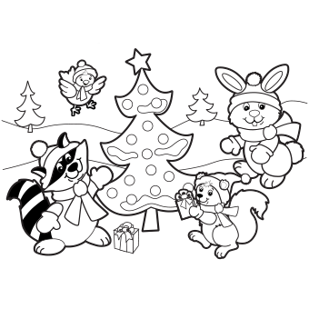 340x340 Holiday Scene Coloring Page