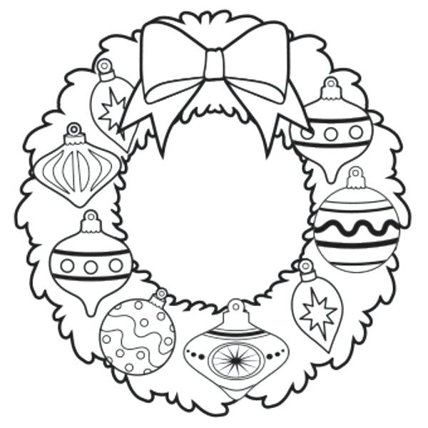 600x600 Wreath Coloring Page Free