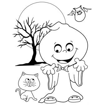 340x340 Silly Ghost Colouring In Page