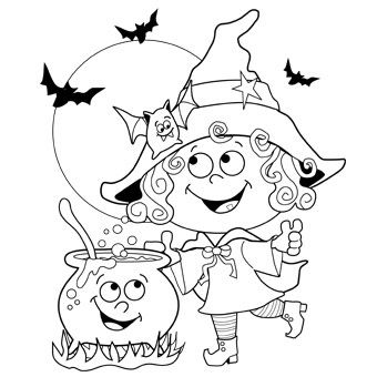 340x340 Witch Colouring In Pages